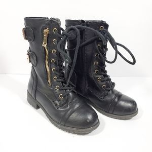 Toddler boy or  girl black combat lace boots 10